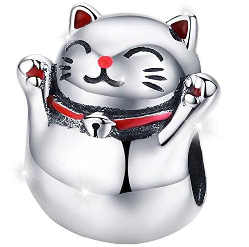 MariaFonte Charm Pendentif en forme de chat porte-bonheur japonais (Maneki Neko) en argent sterling 925, compatible avec les marques les plus populaires de bracelets et colliers