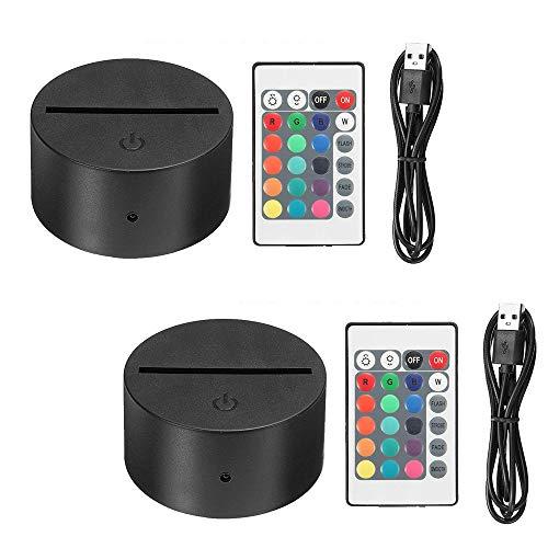 Thlevel 2 Piezas 3D Base Lampara LED, 3D Night Light Base Ajustable 7 Colores con Control Remoto y Cable USB para Dormitorio, Habitación Infantil, Sala de Estar, Cafetería, Bar
