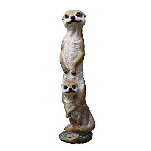 Nwn Brown Meerkat Tier-Statue, Harz Meerkat Garten Statue Familie Yard Art 18.1-Inch