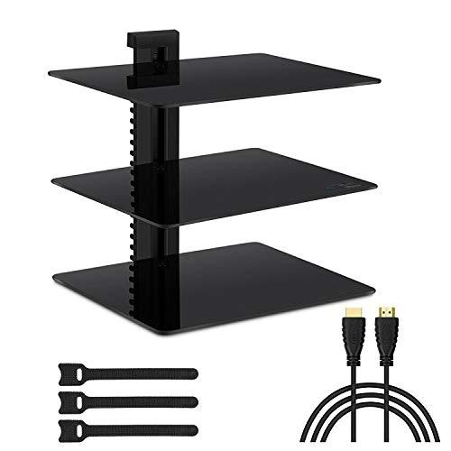 FITUEYES Rolling Media Component HiFi Stand with Wheel Audio Cabinet AV Shelf Utility AV Cart