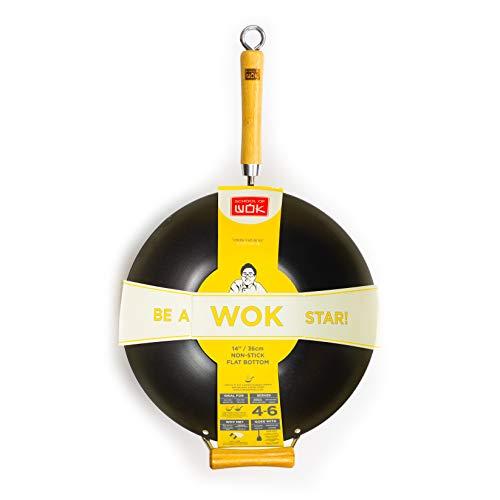 Escuela de Wok de Estrella de la Wok Antiadherente de Acero al Carbono Wok, Plata, 35,6cm