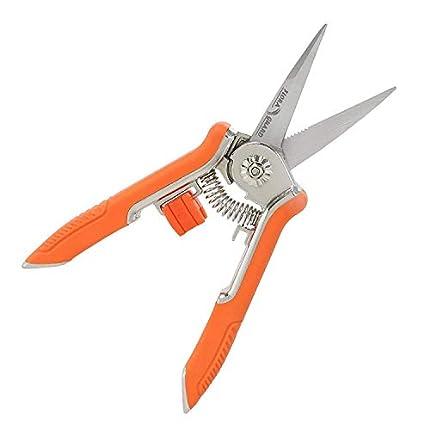 FLORA GUARD Tijeras de podar con micropuntas de 6.5 Pulgadas, Tijeras de podar manuales para jardinería, Tijeras de podar con Acero Inoxidable (Naranja)