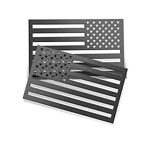 WOSITE 1Pair 5'x3' Matte Black 3D US American Car Flag Emblem Decals, 3.5mm Thickness Acrylic Cut-Out Vehicle Tactical Military Patriotic Badge Sticker for Car Truck Jeep SUV Decoration Accessories