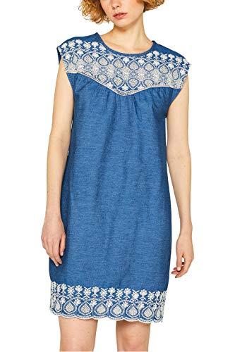 edc by ESPRIT Damen 049CC1E004 Kleid, Blau (Blue Dark Wash 901), Large (Herstellergröße: L)
