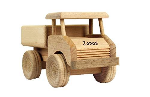 Geschenkissimo Holz-LKW für Kinder - Spielzeug Lastwagen mit Namen - Gravur - Massives Holzspielzeug, robust & langlebig - Holzauto für Kleinkinder, EIN tolles Kindergeschenk