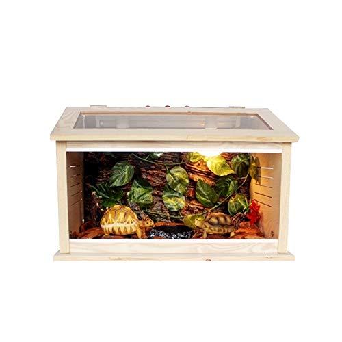 Vivarium de mascotas Caja de cría de reptiles Caja de cría, Oficina Mascota de madera Terrario Lagarto Ventilado Tortuga Hábitat Caja de cría de decoración de casa casera ( Size : 60*40*40CM )