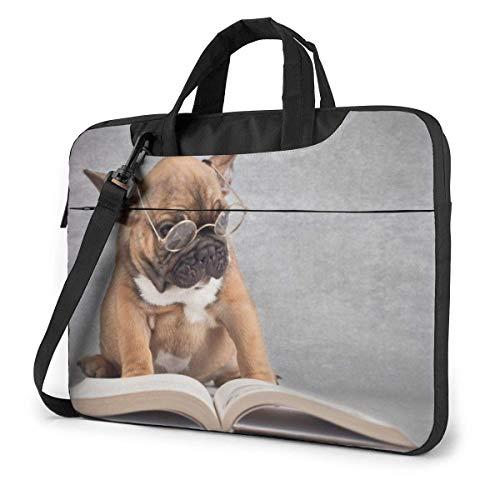 Bolsa para portátil, Libro de Lectura para Perros con Gafas, Bandolera, Estuche de Transporte con Funda para portátil con cinturón de Carro de 15.6 Inch