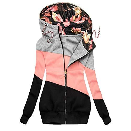 yazidan Damen Kapuzenpullover mit Reißverschluss Frauen Farbblock Patchwork Langarm Hoodie Mäntel Warme Sweatshirt Jacken Coats mit Kapuzen