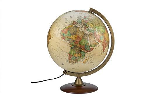 Interkart Globo Luminoso, mappamondo, 30cm Base in Legno, cartografia Stile Antico - Italiano