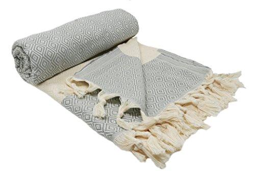 Stefano Ferrante ELMAS Hamamtuch Saunatuch Pestemal Fouta Strandtuch Badetuch Handtuch Baumwolle Backpacker 100x180 cm (Hellgrau)