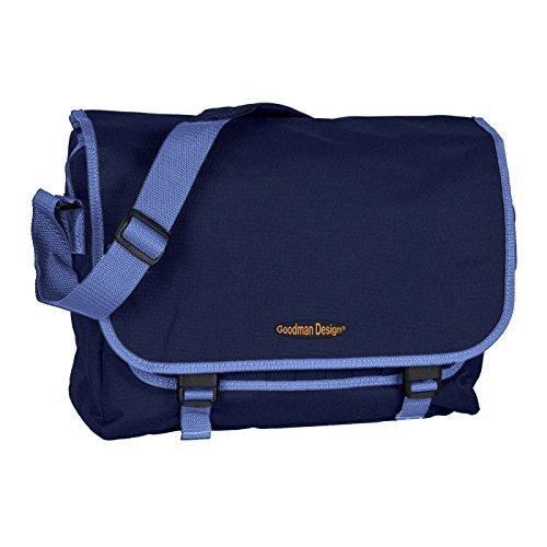 Praktische Umhängetasche/sehr robust : Rucksack - mit Goodman Logo - Schultasche/Schultertasche - Farbe: Navy/hellblau