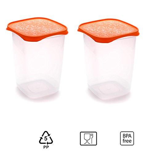 Set de 2 Coupelles hermeticos carrés avec couvercle orange de 2 litres – BPA Free.