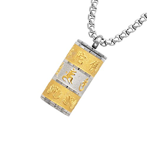 Bonarty Cylinder Buddhist Mantra Prayer Memorial Pendant Necklace Keepsake Cremation - Gold, Silver