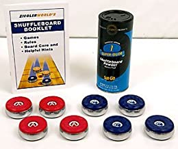 American Brand Large Table Shuffleboard Puck Weights +1 Can Super Glide Wax +Rule Book