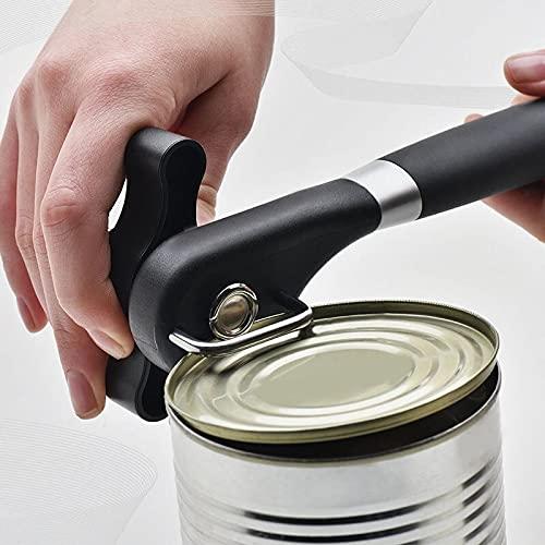 PPuujia Abrelatas manual de latas de acero inoxidable profesional de mano Abrelatas de corte lateral manual jarra y abridor de estaño herramientas de cocina para camping (color 1 abridor de latas)