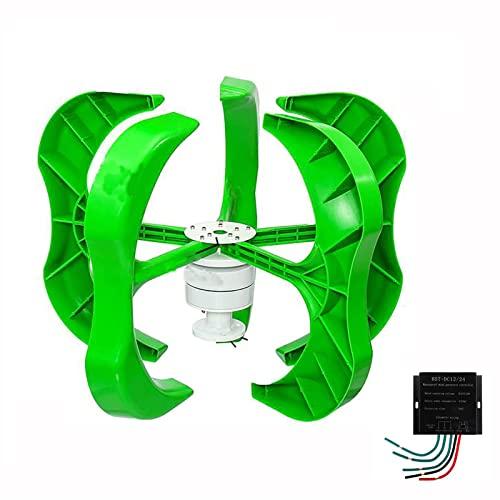 Kit de generador de turbina eólica, 12/24/48V 100/200/300/400W Kit de generador de viento de eje vertical para monitoreo marino de barcos domésticos Más sistema híbrido solar y eólico-Verde 12v400w