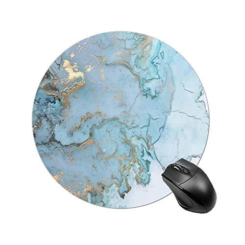 Abstract Grey Blue Marble Round Mouse Pad Smooth Gaming Mouse Pads with Durable Stitched Edge Anti Slip Rubber Mouse Mat for Laptop Computer Thick Mousepads for Men Women Kids