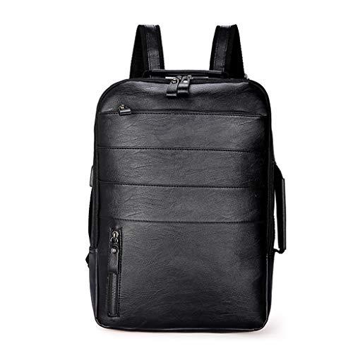 Vaeiner schooltassen, multifunctionele rugzak PU lederen handtas reizen laptop grote capaciteit Daypack tiener casual student boekentas app. 28 x 12 x 41cm / 11.02 x 4.72 x 16.14in Zwart