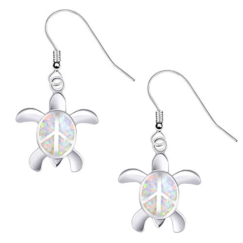 KELITCH Ohrringe Frau 925 Sterling Silber Weiß Opal Cluster Edelsteine Niedlich Frieden Schildkröte Studs Ohrringe Zum Mädchen Kinder