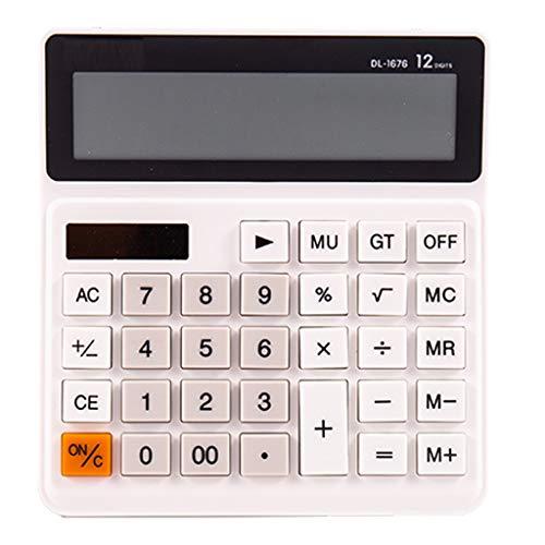 rekenmachine, tafelrekenmachine met grote rekenmachine, dubbele stroomvoorziening met zonne-batterij, 12-cijferig lcd-display en grote knoopcel. Wit