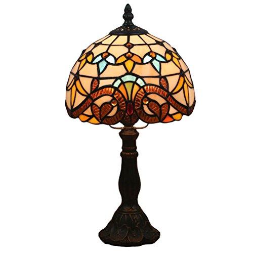 Odziezet Lámpara de Mesa 8 Pulgadas Estilo de Tiffany Europea Vintage Pastoral de Cristal Manchada Retro Lámpara de Mesita Dormitorio