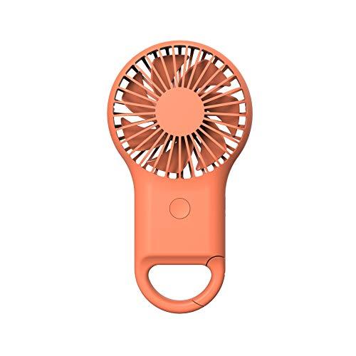 Weiqiao® Mini ventilador de mano portátil USB recargable 3 velocidades con luces nocturnas coloridas para viaje casa oficina, naranja