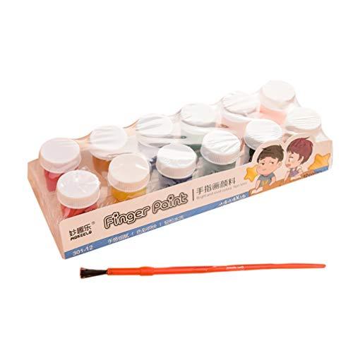 Milisten Juego de Pintura para Niños de 12 Piezas para Niños Pinturas para Niños Lavables No Tóxicas Juego de Pintura Al Temple Pintura de Dedos para Bebés Niños Y Niños con Un Pincel