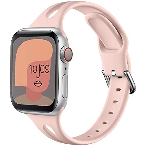 youmaofa Compatible con Apple Watch Correa 38mm 40mm 42mm 44mm, Suave Silicona Delgado Deporte Repuesto Correa por Apple Watch SE, Series 6, Series 5, Series 4 3 2 1, 38mm 40mm-Rosa