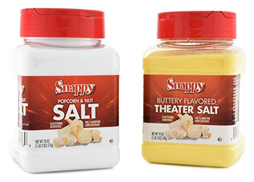 Best Price Snappy White Popcorn Salt and Buttery Flavored Theater Popcorn Salt, 18 Ounce, 2 Count
