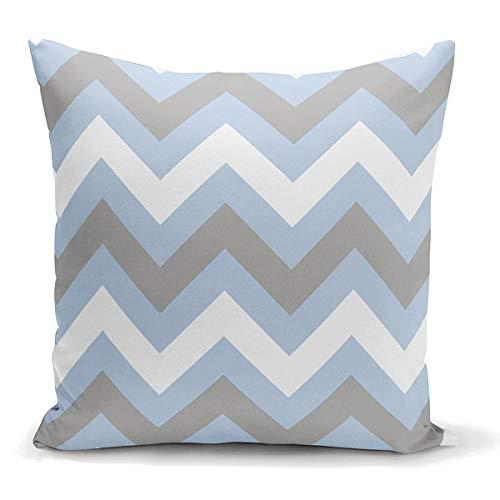 unknow Funda de almohada cuadrada Zig Zag funda de cojín azul y negro blanco funda de almohada decoración a rayas almohada 45 x 45 cm