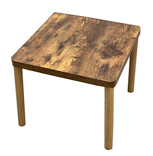 DECOMIL - Premium Vintage Side Table Collection- Walnut Industrial End Solid Wood Side Table, Square Sofa Table, Stable and Sturdy Construction, Easy Assembly, Wood Look Accent