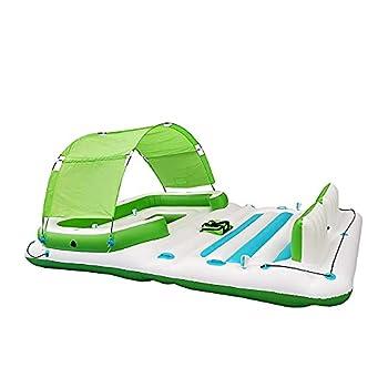 COMFY FLOATS 91464VM 13 Foot Misting Party Platform Inflatable Summer Float for Pool Lake River Fits 6 People White/Aqua Blue