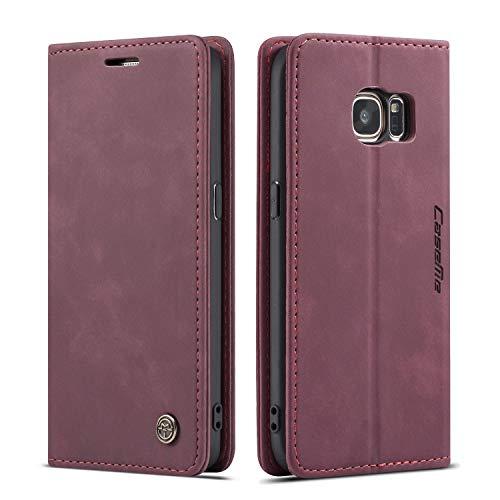 QLTYPRI Hülle für Samsung Galaxy S7, Vintage Dünne Handyhülle mit Kartenfach Geld Slot Ständer PU Ledertasche TPU Bumper Flip Schutzhülle Kompatibel mit Samsung Galaxy S7 - Rot