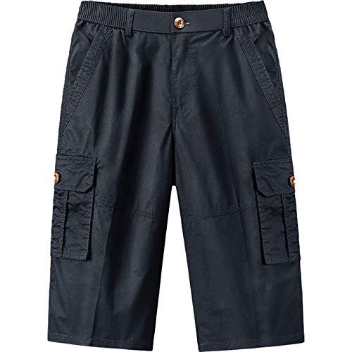 Pantalones Cortos Casuales Multibolsillos de Verano para Hombre Pantalones de Pierna Recta Holgados, Transpirables y cómodos, con Cintura elástica XL