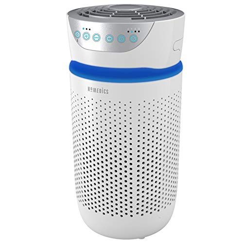 HoMedics TotalClean Tower Air Purifier for Viruses, Bacteria, Allergens, Dust, Germs, HEPA Filter, UV-C Technology, 5-in-1 Purifying with Ionizer, Carbon Odor Filter for Small Rooms, Home Office, White