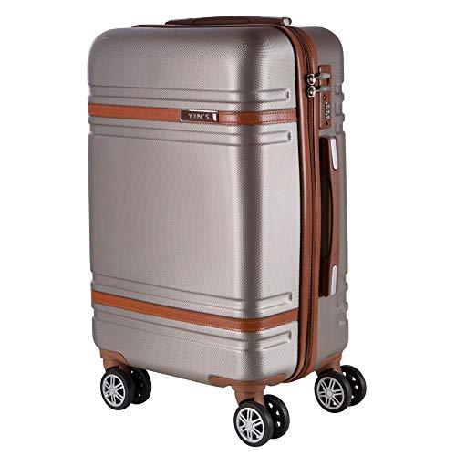 Mala de Bordo Pequena para Viagem em Abs Yins 21068 Rodas Duplas Cadeado Integrado Tam P - Champagne