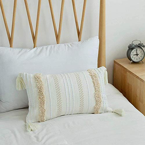 Funda Cojin Boho Funda Almohada Decorativo Cojin Moderna Funda de Almohada Tejida con Borla para sofá Coche Entrenador Dormitorio Sala de Estar 30cmx50cm (Crema)