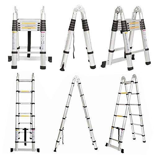 Alu Teleskopleiter 3,8M klappleiter 1,9M+1,9M A Rahmen Leiter mit Stützstange 12 sprossen Aluleiter Ausziehbar Schiebeleitern Rutschfest EN131 Mehrzweckleiter belastbar bis 150 kg