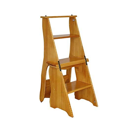 GJSN Facile e Conveniente Multifunzione Pieghevole Passo Sgabello, Grande Bosco 4 Pedate Chair 330 Lb Capacità, Coperta Scaletta/Scala a Pioli per Adulti Cucina (Colore: 1#),1#