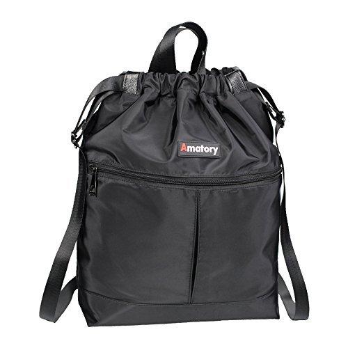 Gym Drawstring Backpack Bags String Sackpack Waterproof Gymsack Cinch Sack (Tote-Black)