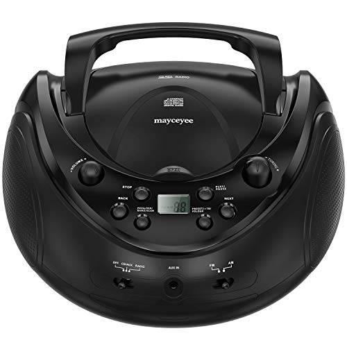 Mayceyee Portable Stereo CD Player with AM/FM Radio and Aux Line-in, Playback CDs, CD-R/RW and MP3 CDs (Piano Black)