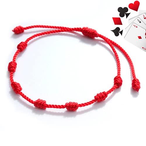Extremix-Pulsera Kabbalah - cordón 7 Nudos de Hilo Rojo - Unisex - Ajustable - protección de Mal de Ojo, Buena Suerte.