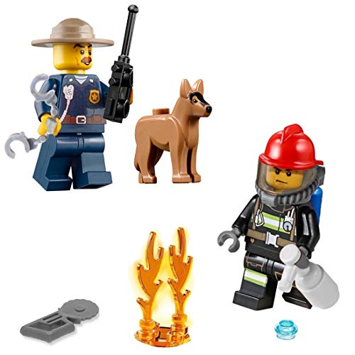 LEGO City Minifigure Combo - Police Chief with German Shepherd and Firefighter with Fire Flame 🔥