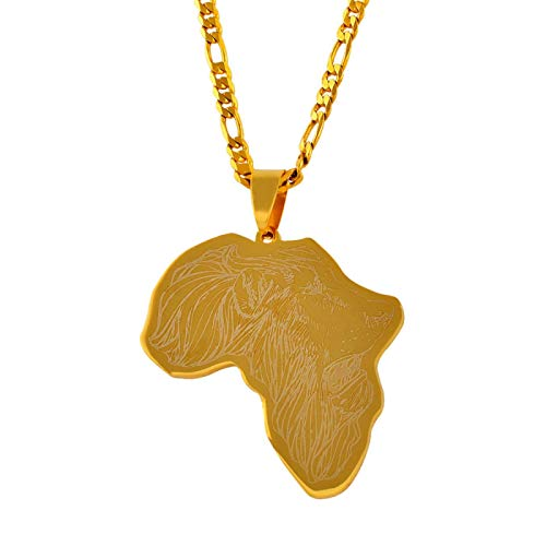 nice cheng Collar colgante de mapa de África de color dorado con patrón de león mapas africanos joyería hip hop regalo # 011421