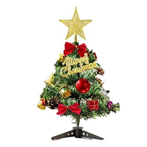 DBFSX Mini Christmas Tree with Lights Small Accessories Bow Bells Pine Cone Gifts Christmas Desktop New Year Decorations