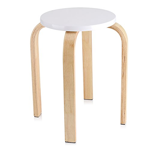 GOTOTOP Taburete de madera, silla apilable de madera doblada con alfombrilla antideslizante para muebles de hogar, habitación de los niños