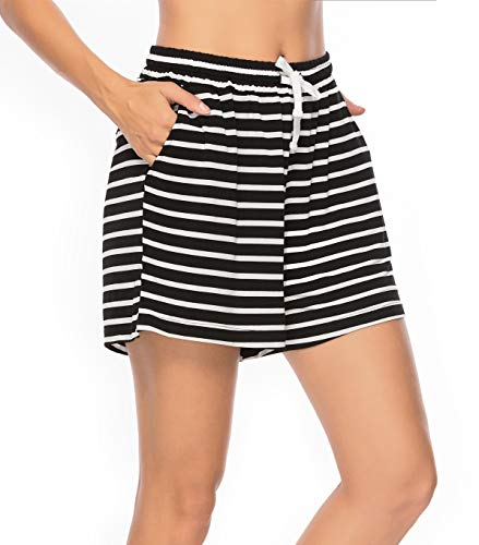 Vlazom Pantalones Cortos de Pijama Mujer Verano - Algodón, Partes de Abajo de Pijamas para Mujer,XL,Negro+Gris_Raya