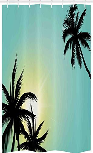 ABAKUHAUS Modern Schmaler Duschvorhang, Hawaii Miami Beach Sonne, Badezimmer Deko Set aus Stoff mit Haken, 120 x 180 cm, Seafoam Schwarz