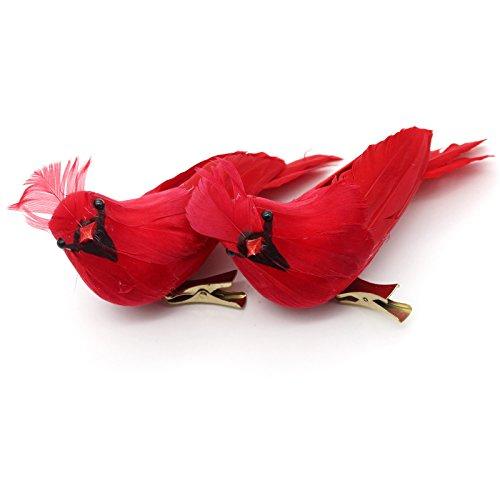Yolococa 2X Weihnachten Dekoration Christbaumschmuck Weihnachtsschmuck Baum Basteln Verzierung Kardinalis Vögel Rot