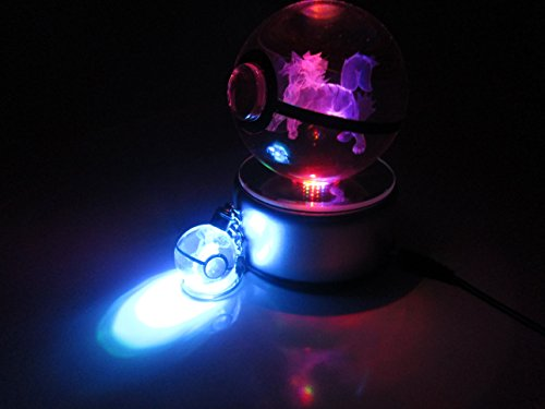 Beyond Pokemon Arcanine 3D Crystal Glass Pokeball LED Light Cosplay Replica Ball Prop & Free LED Pokemon Keychain Charm image